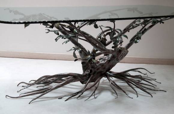 table en fer forge arbre decoratif. Black Bedroom Furniture Sets. Home Design Ideas