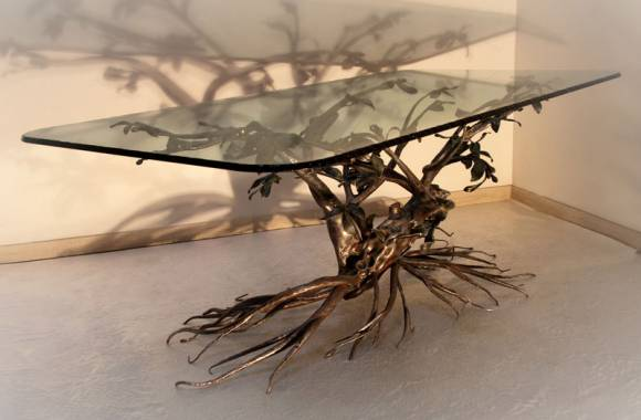 Table en fer forge arbre decoratif - Table basse de salon en verre et fer forge ...